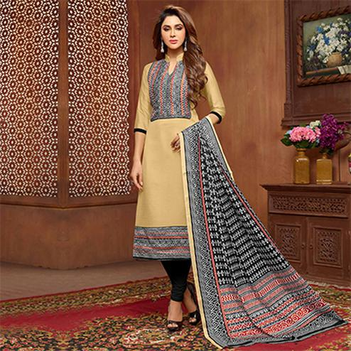 Charming Beige Designer Printed Zoya Silk Dress Material