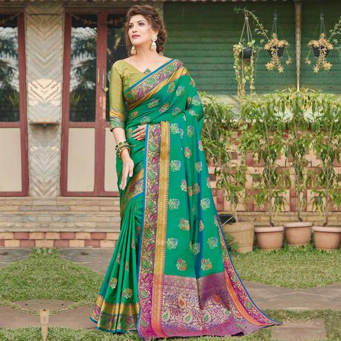 Imposing Green Colored Festive Wear Woven Banaras Silk Saree
