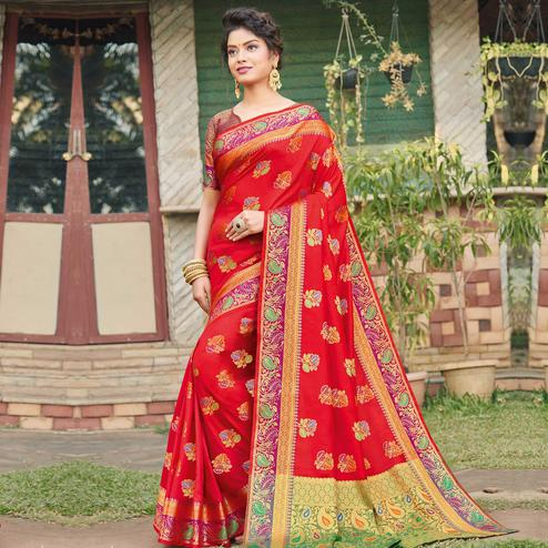 Lovely Red Colored Festive Wear Woven Banaras Silk Saree