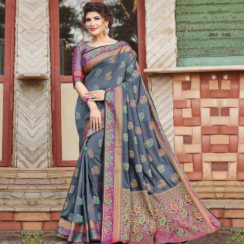 Majesty Grey Colored Festive Wear Woven Banaras Silk Saree