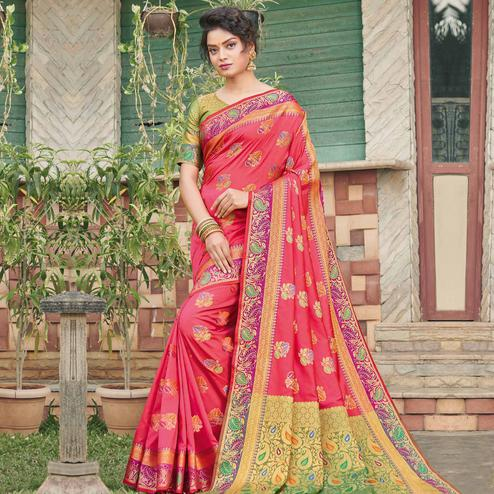 Impressive Pink Colored Festive Wear Woven Banaras Silk Saree