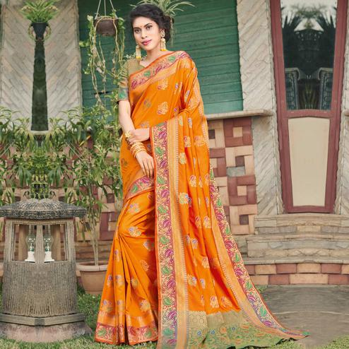 Ethnic Orange Colored Festive Wear Woven Banaras Silk Saree