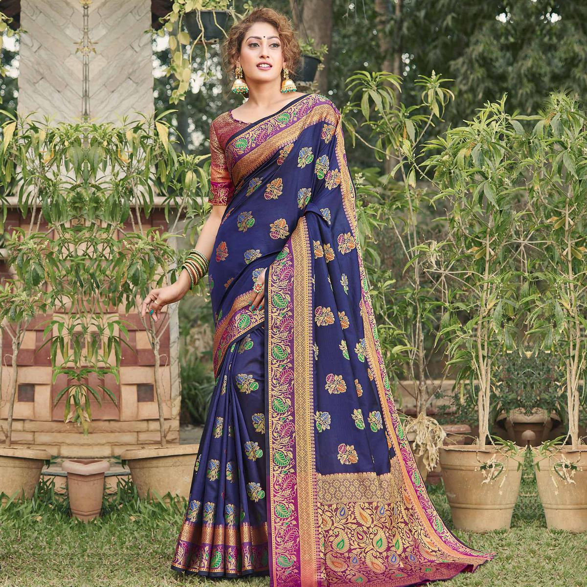 Ravishing Navy Blue Colored Festive Wear Woven Banaras Silk Saree