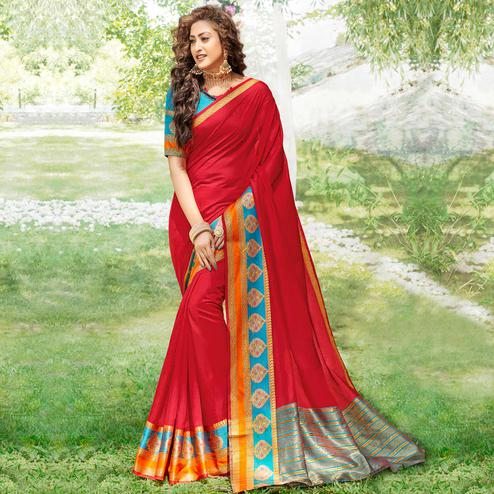 Lovely Red Colored Festive Wear Woven Cotton Silk Saree