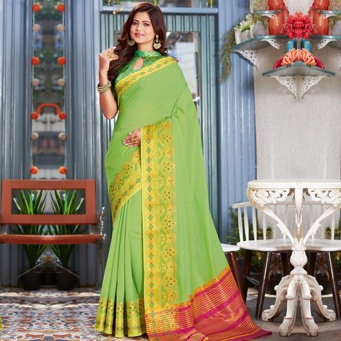 Energetic Parrot Green Colored Festive Wear Woven Cotton Silk Saree