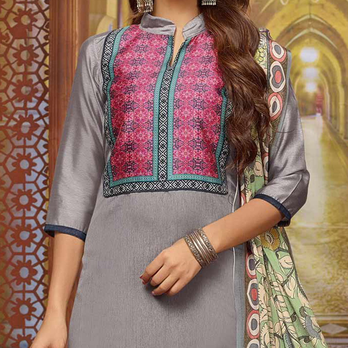 Graceful Grey Designer Printed Zoya Silk Dress Material