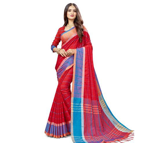 Jazzy Red Colored Festive Wear Stripe Printed Cotton Silk Saree With Tassels