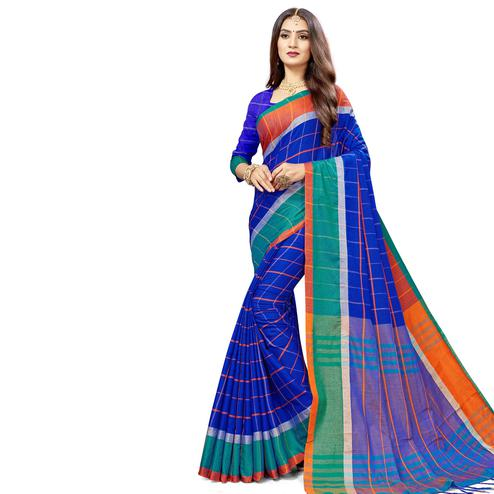 Engrossing Blue Colored Festive Wear Stripe Printed Cotton Silk Saree With Tassels