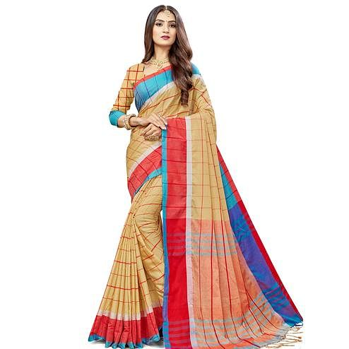 Captivating Beige Colored Festive Wear Stripe Printed Cotton Silk Saree With Tassels