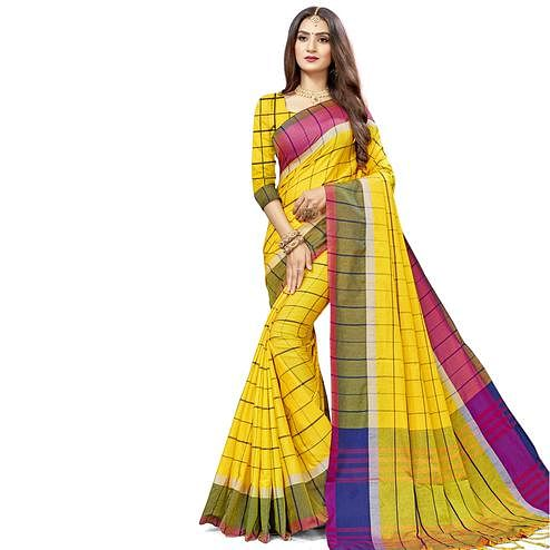 Innovative Yellow Colored Festive Wear Stripe Printed Cotton Silk Saree With Tassels