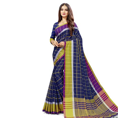 Fantastic Navy Blue Colored Festive Wear Stripe Printed Cotton Silk Saree With Tassels