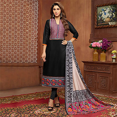 Attractive Black Designer Printed Zoya Silk Dress Material