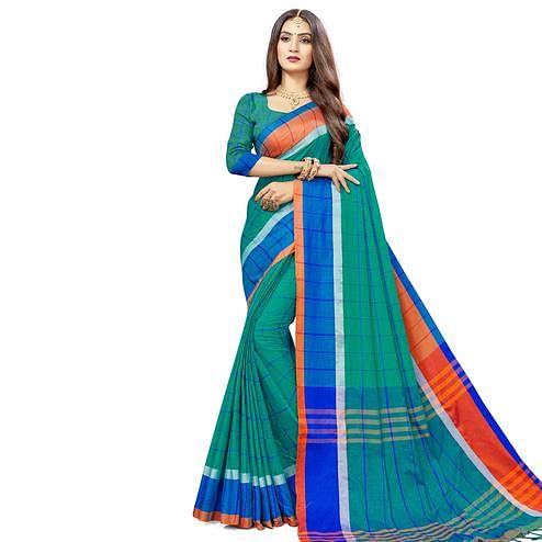 Amazing Green Colored Festive Wear Stripe Printed Cotton Silk Saree With Tassels