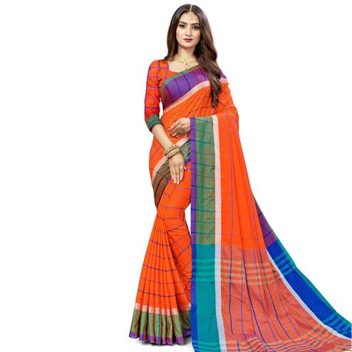 Gorgeous Red Colored Festive Wear Stripe Printed Cotton Silk Saree With Tassels