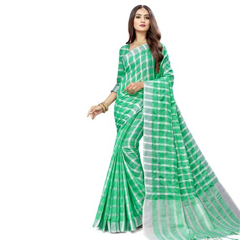Marvellous Green Colored Fesive Wear Checks Print Cotton Silk Saree With Tassels