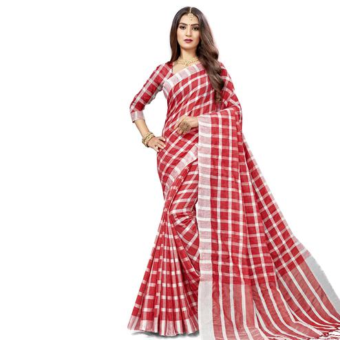 Sensational Red Colored Fesive Wear Checks Print Cotton Silk Saree With Tassels