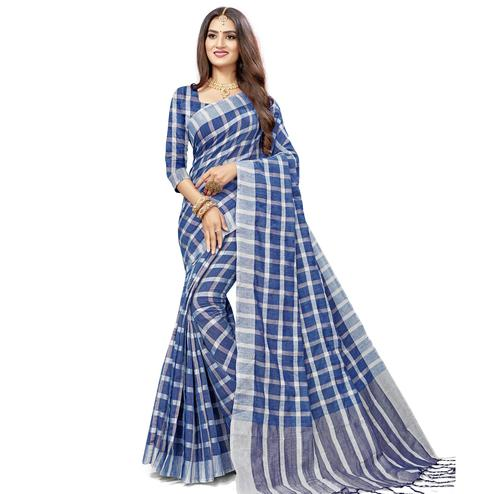 Stunning Navy Blue Colored Fesive Wear Checks Print Cotton Silk Saree With Tassels