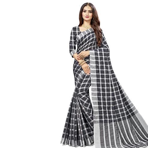 Flirty Black Colored Fesive Wear Checks Print Cotton Silk Saree With Tassels