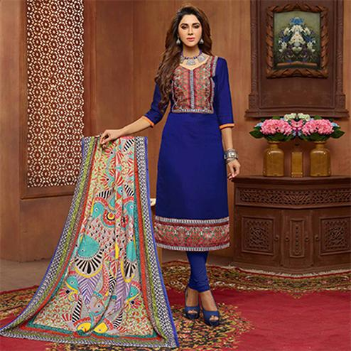Flamboyant Blue Designer Printed Zoya Silk Dress Material