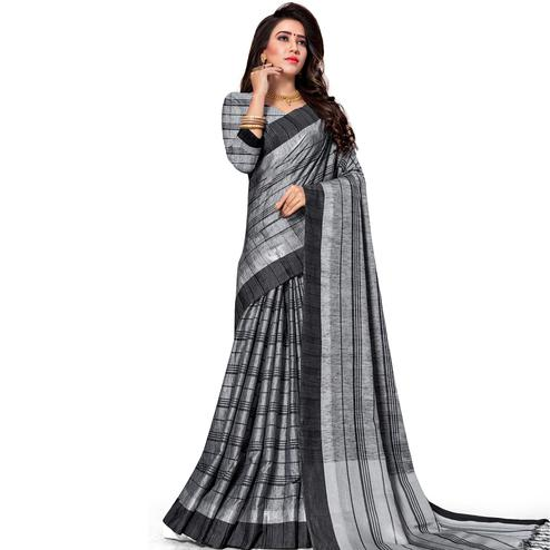 Charming Grey Colored Fesive Wear Stripe Print Cotton Silk Saree With Tassels