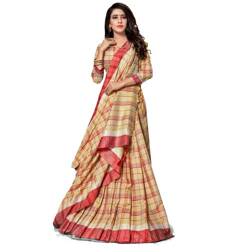 Jazzy Beige Colored Fesive Wear Stripe Print Cotton Silk Saree With Tassels