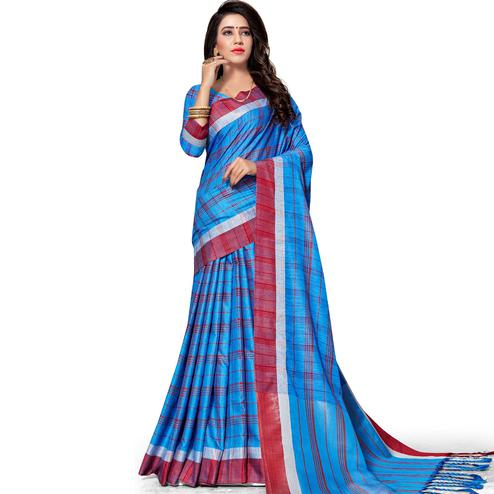 Delightful Royal Blue Colored Fesive Wear Stripe Print Cotton Silk Saree With Tassels