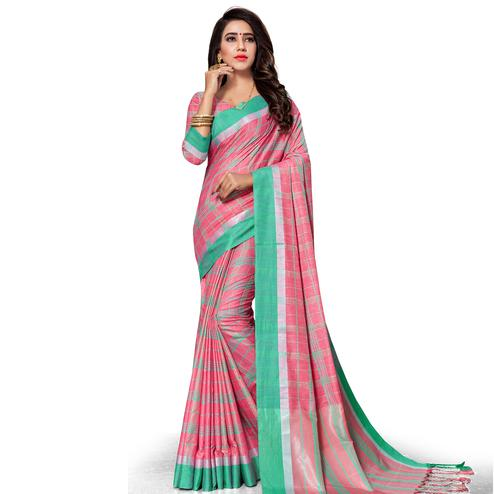 Engrossing Pink Colored Fesive Wear Stripe Print Cotton Silk Saree With Tassels