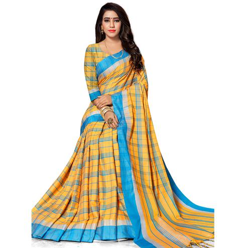 Captivating Yellow Colored Fesive Wear Stripe Print Cotton Silk Saree With Tassels
