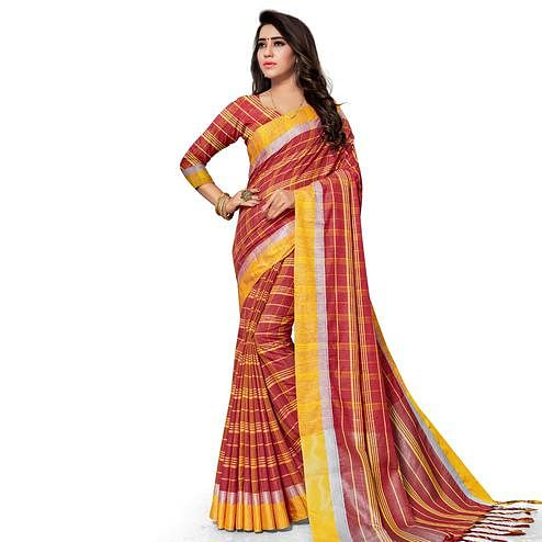 Fantastic Red Colored Fesive Wear Stripe Print Cotton Silk Saree With Tassels