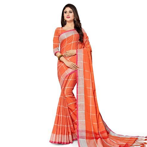 Magnetic Orange Colored Fesive Wear Stripe Print Cotton Silk Saree With Tassels
