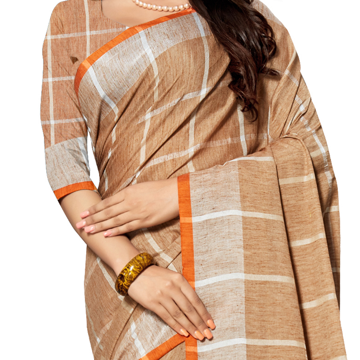 Hypnotic Brown Colored Fesive Wear Stripe Print Cotton Silk Saree With Tassels
