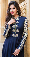 Navy Blue Flared Top
