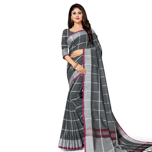 Flattering Black Colored Fesive Wear Stripe Print Cotton Silk Saree With Tassels