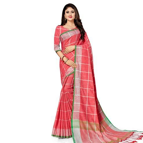 Excellent Peach Colored Fesive Wear Stripe Print Cotton Silk Saree With Tassels
