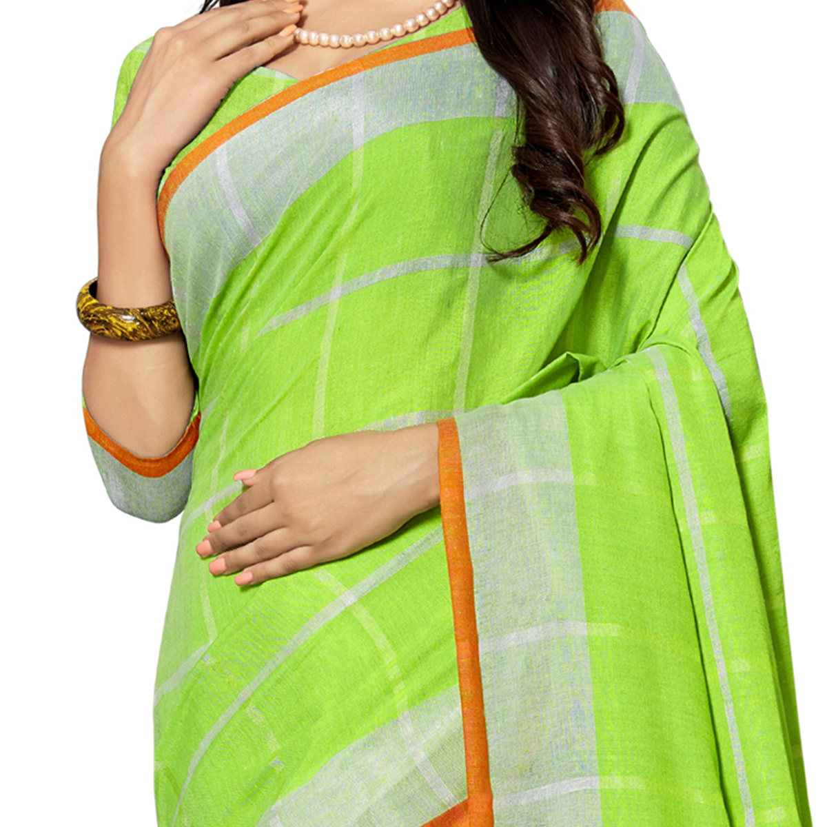 Preferable Parrot Green Colored Fesive Wear Stripe Print Cotton Silk Saree With Tassels