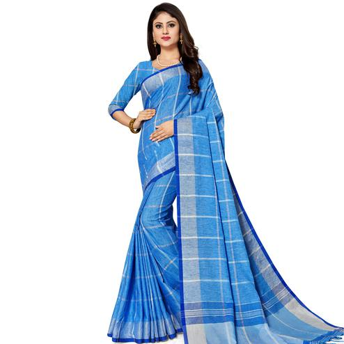 Marvellous Blue Colored Fesive Wear Stripe Print Cotton Silk Saree With Tassels
