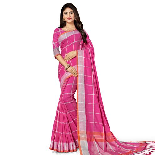 Pretty Pink Colored Fesive Wear Stripe Print Cotton Silk Saree With Tassels