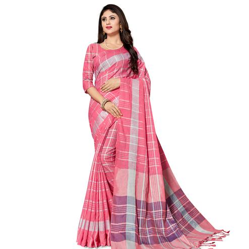 Classy Pink Colored Fesive Wear Stripe Print Cotton Silk Saree With Tassels
