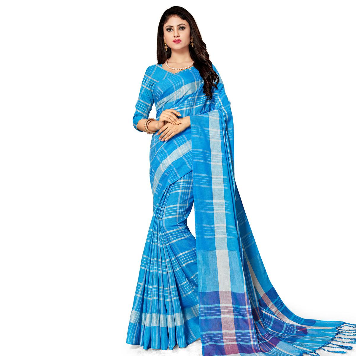 Prominent Blue Colored Fesive Wear Stripe Print Cotton Silk Saree With Tassels