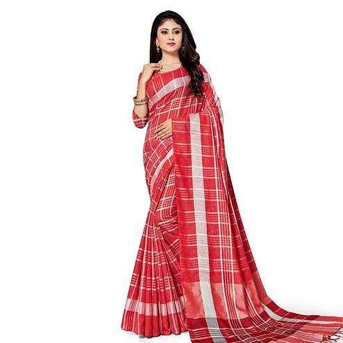 Appealing Red Colored Fesive Wear Stripe Print Cotton Silk Saree With Tassels
