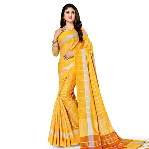 Capricious Yellow Colored Fesive Wear Stripe Print Cotton Silk Saree With Tassels