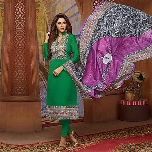 Adorable Green Designer Printed Zoya Silk Dress Material