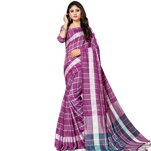Entrancing Purple Colored Fesive Wear Stripe Print Cotton Silk Saree With Tassels