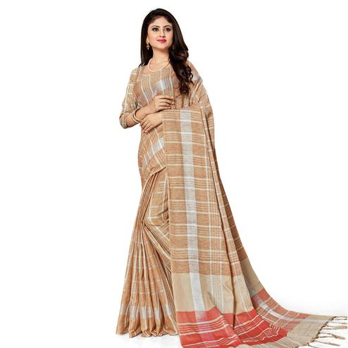 Groovy Brown Colored Fesive Wear Stripe Print Cotton Silk Saree With Tassels
