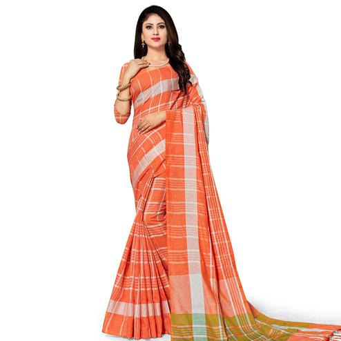 Exclusive Orange Colored Fesive Wear Stripe Print Cotton Silk Saree With Tassels