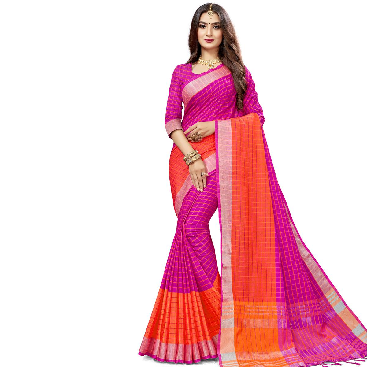 Attractive Pink Colored Fesive Wear Checks Print Cotton Silk Saree With Tassels