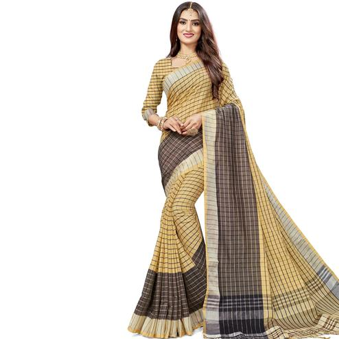 Beautiful Beige Colored Fesive Wear Checks Print Cotton Silk Saree With Tassels