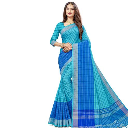 Graceful Blue Colored Fesive Wear Checks Print Cotton Silk Saree With Tassels