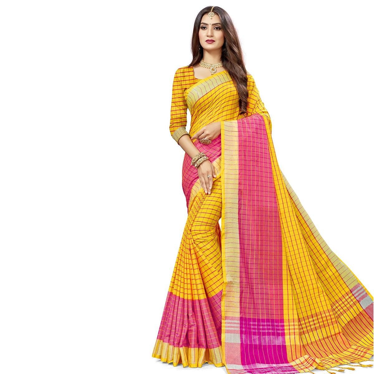 Blooming Yellow Colored Fesive Wear Checks Print Cotton Silk Saree With Tassels