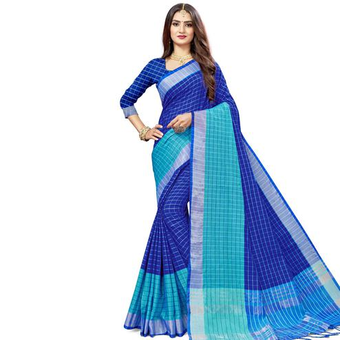 Charming Blue Colored Fesive Wear Checks Print Cotton Silk Saree With Tassels